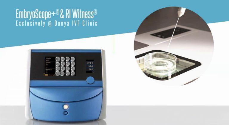 תמונות של ציוד האמבריוסקופ ומערכת בקרה RI Witness עם צלחת דיסק.