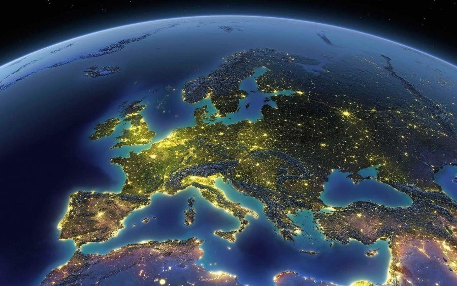 image of globe focus on Europe from space